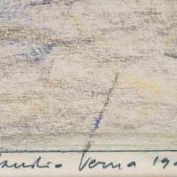 Claudio Verna Pastello su Carta dettaglio firma