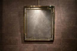 Specchiera rettangolare in ottone dorato nello stile di Romeo Rega