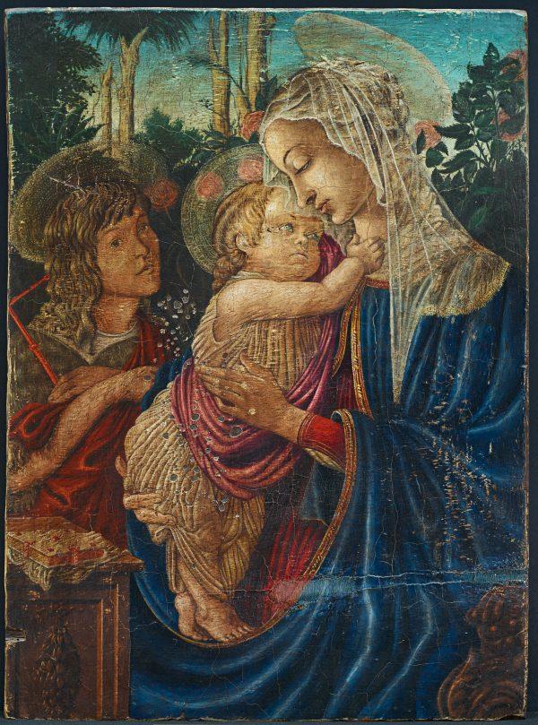 Umberto Giunti Olio su Tavola Madonna con Bambino,1920