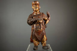 Wei Tuo Pusa Sculpture en Bois XIX Siècle