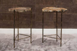 Pair Brutalist End Tables Fossil Wood Top