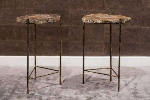 Coppia Tavolini Metallo Anni 80 Piani in Legno Fossile