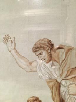 Disegno a matita sanguigna a soggetto neoclassico Attilio Regolo