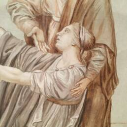 Period red chalk drawing with neoclassical subject