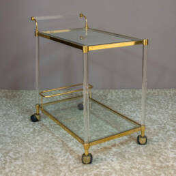 Two Glass Shelves Brass and Plexiglas Italian Trolley