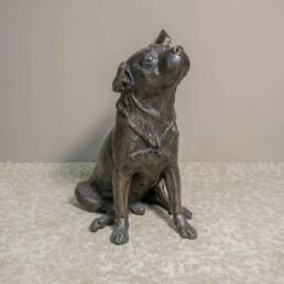 Modern Signed Bronze Dog Sculpture Franz Canins