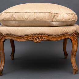 19th Century Antique French Carved Oak Louis XV Stool Bench Tapestry