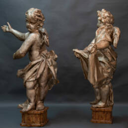 Pair of Monumental Silvered Putti Florence 17th Century