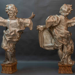 Pair of Silvered Monumental Putti Florence 17th Century