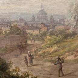 Classical Landscape with Figures  and Saint Peter's church visible in the distance