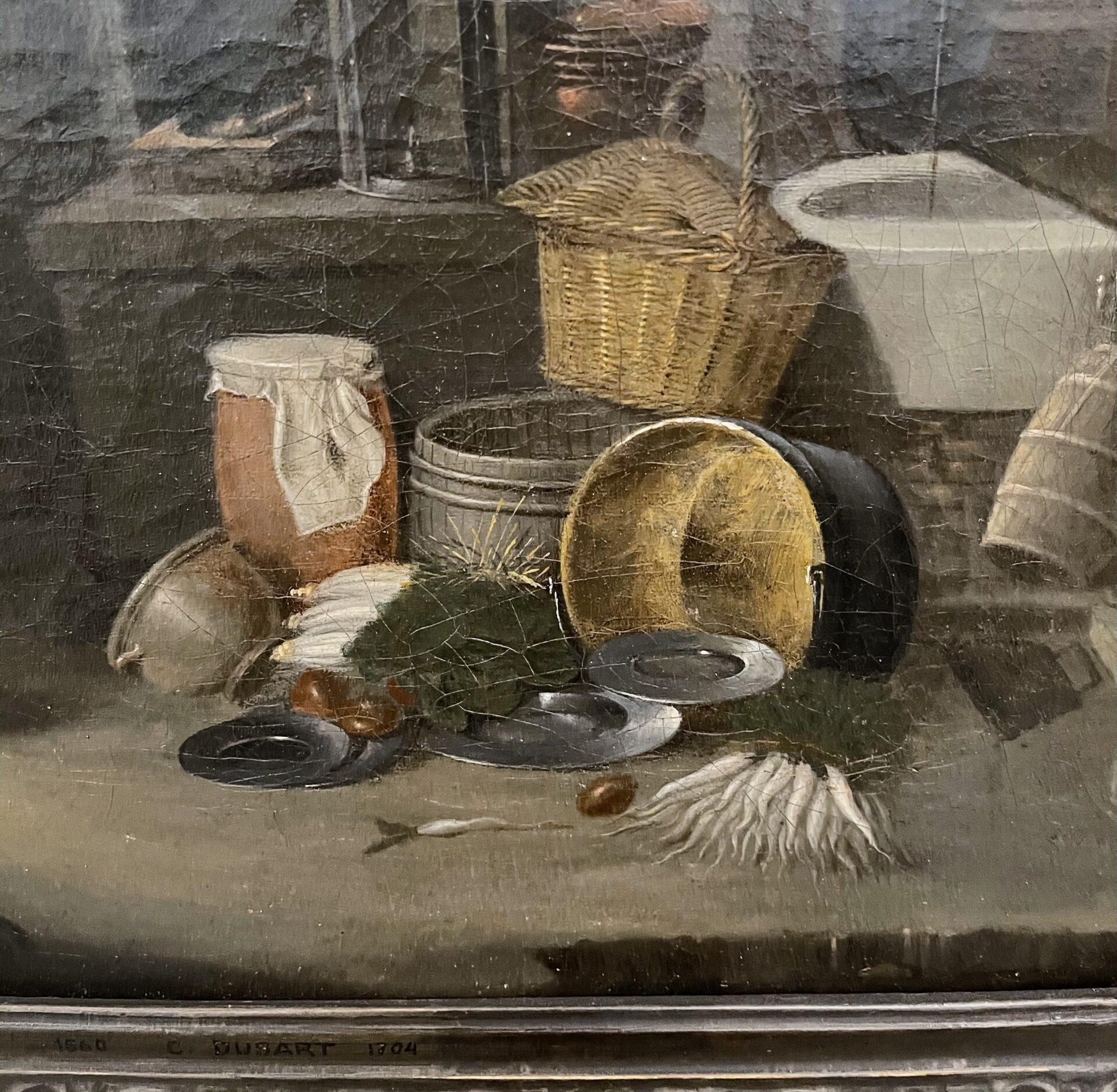 Cornelis Dusart Dettaglio Antico Quadro Fiammingo